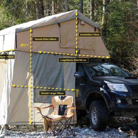 Dachzelt horntools Desert I 140cm sandfarben mit Vorzelt Offroad Reise Zelt atmungsaktiv & wüstentauglich
