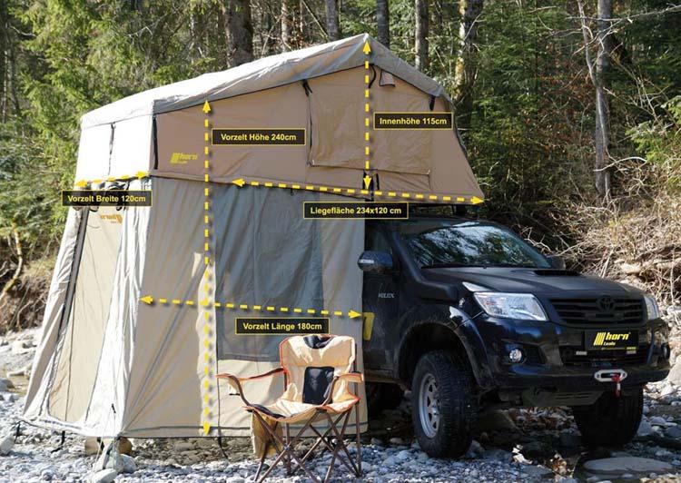 Dachzelt horntools Desert I 160cm sandfarben mit Vorzelt Offroad Reise Zelt atmungsaktiv & wüstentauglich